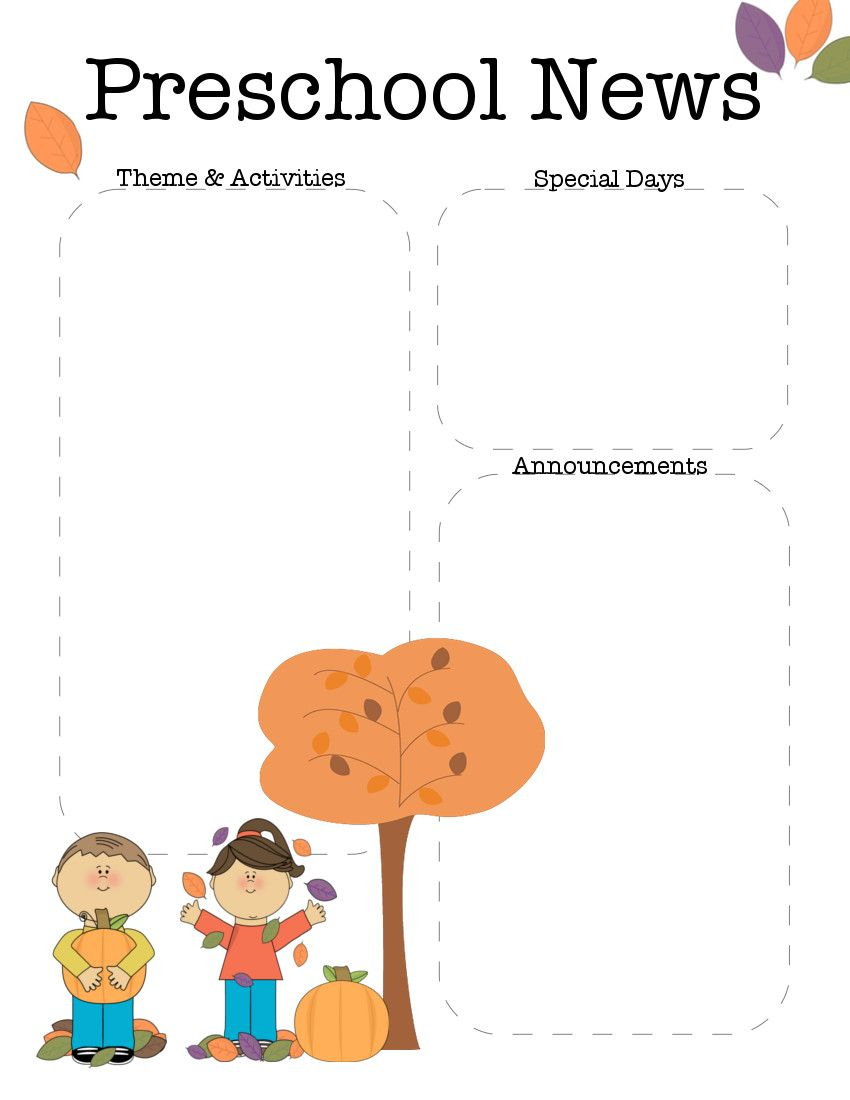 October Preschool Newsletter Template   Teaching Ideas   Pinterest - Free Printable Preschool Newsletter Templates