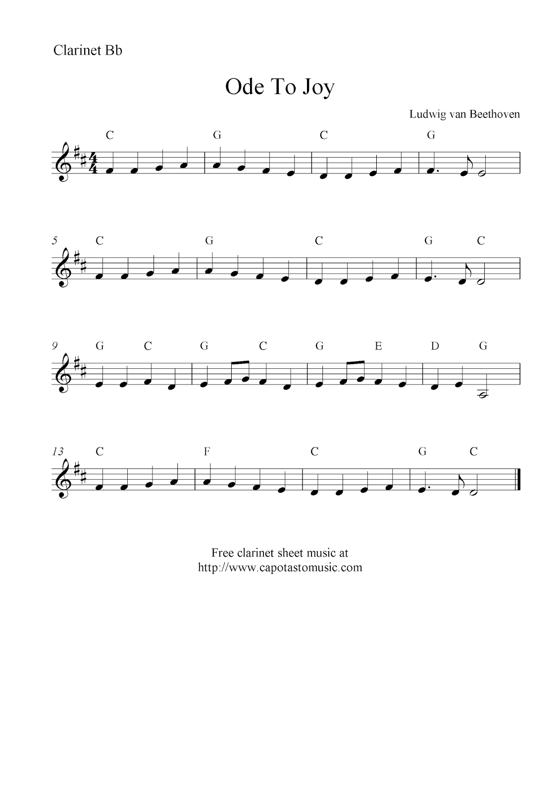 Ode To Joybeethoven, Free Clarinet Sheet Music Notes - Free Sheet Music For Clarinet Printable
