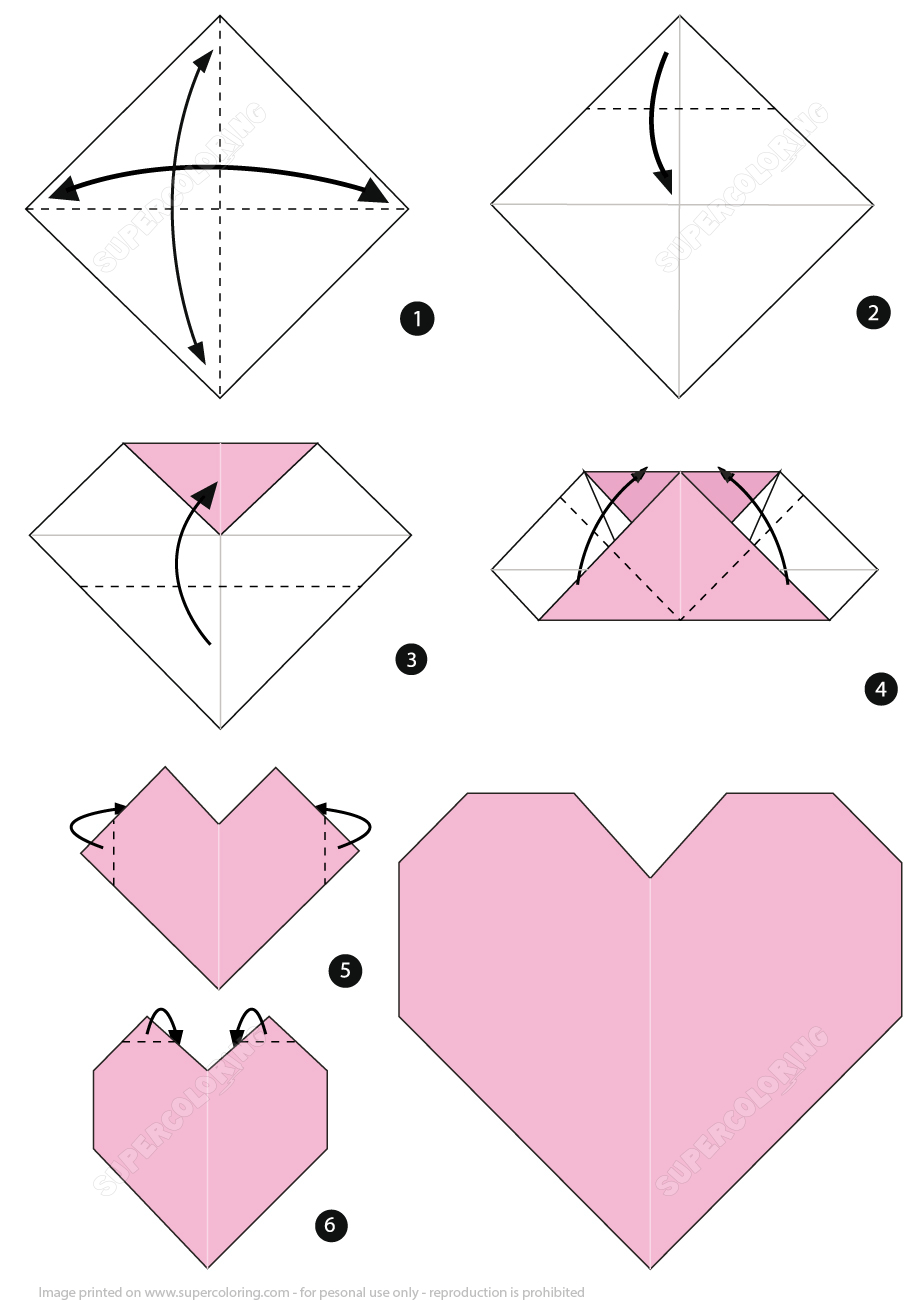 Origami Heart Instructions | Free Printable Papercraft Templates - Free Easy Origami Instructions Printable