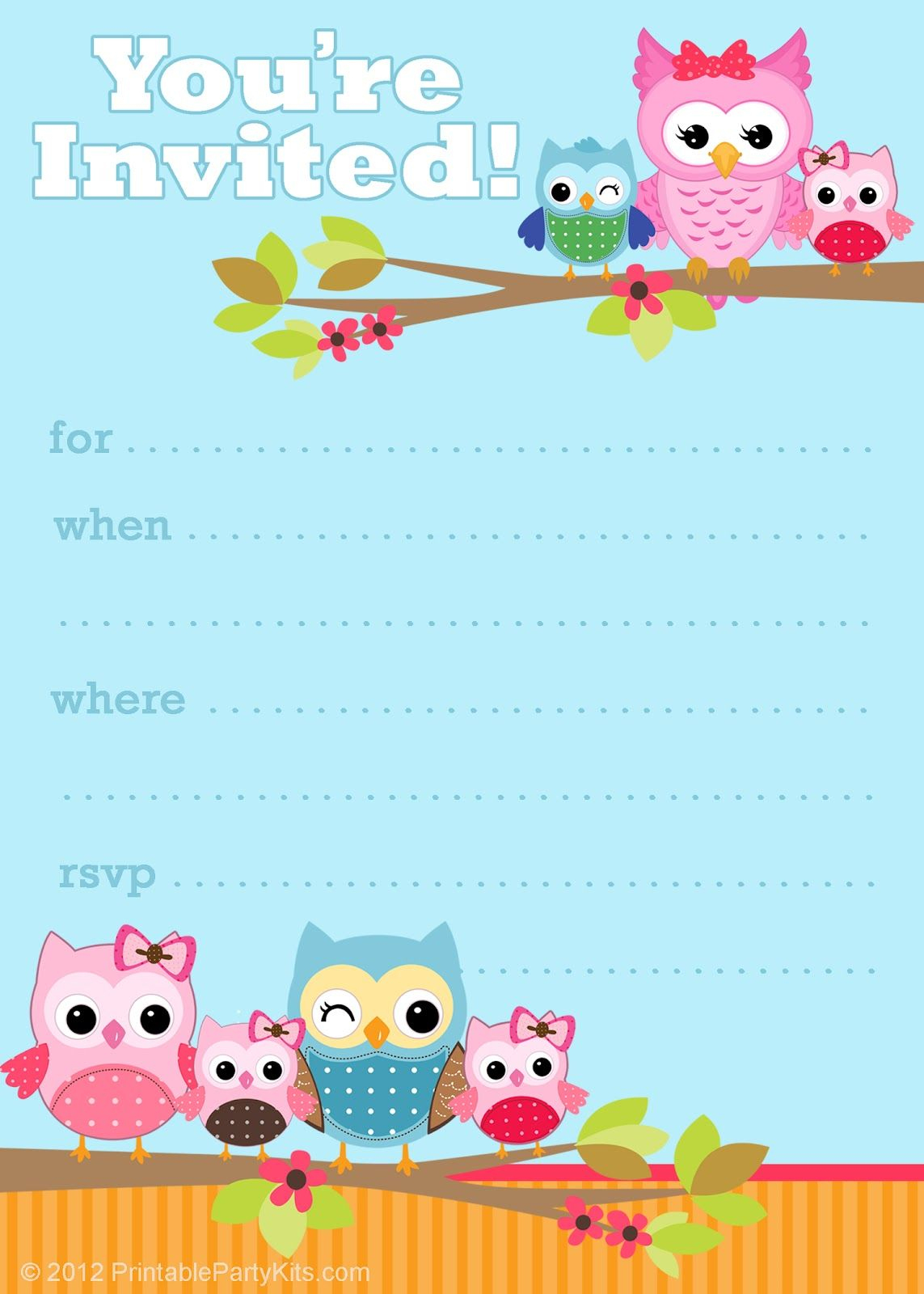 Owl Birthday Cards To Print For Free | Click On The Free Printable - Customized Birthday Cards Free Printable