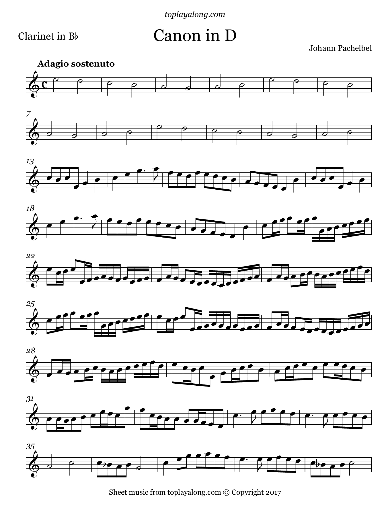 Pachelbel - Canon In D | Cleranet | Pinterest | Clarinet Sheet Music - Free Printable Clarinet Sheet Music