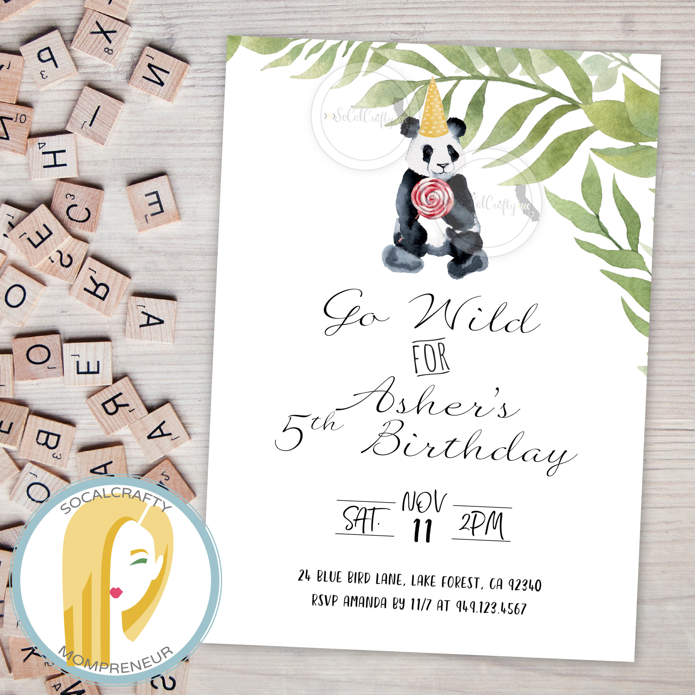 Panda Bear Birthday Party Invitation Zoo Animal Invitation | Etsy - Panda Bear Invitations Free Printable