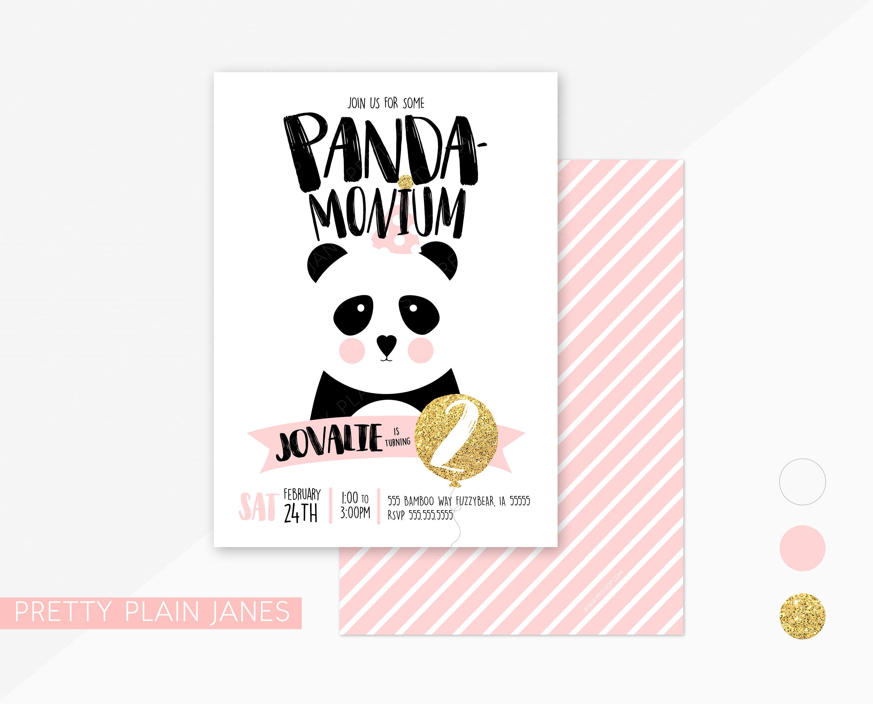 Panda Birthday Party Invitation | Panda-Monium Birthday Party Invite - Panda Bear Invitations Free Printable