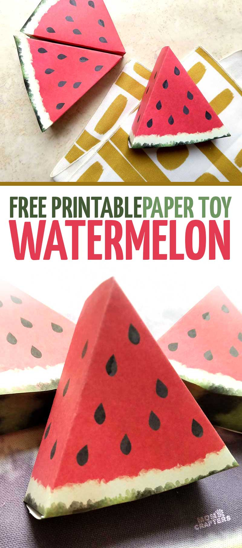 Paper Craft Templates For Play Fruit: Watermelon – Moms And Crafters - Printable Paper Crafts Free