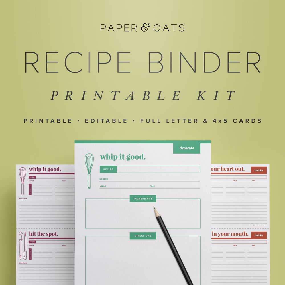 Paper + Oats Printable Planners – Recipe Cards And Pages Formatted - Free Printable Cookbooks Pdf