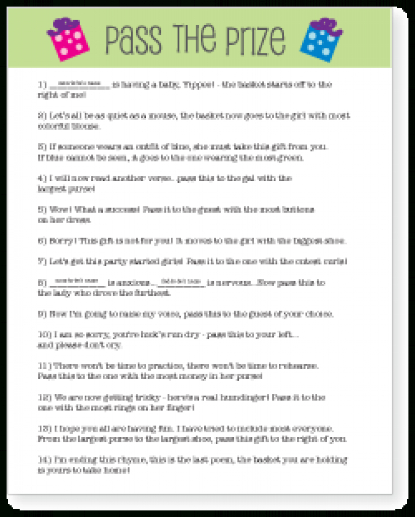 Pass The Prize Baby Shower Game - Gift | Baby Shower Ideas Within - Pass The Prize Baby Shower Game Free Printable
