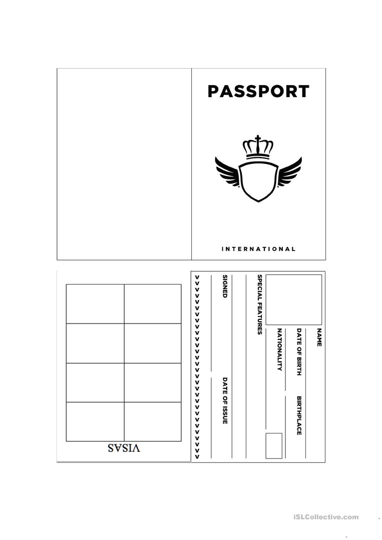 Passport Template Worksheet - Free Esl Printable Worksheets Made - Free Printable Passport Template