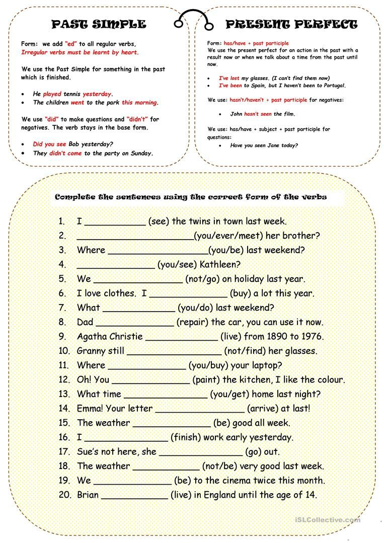 Past Simple Or Present Perfect Worksheet - Free Esl Printable - Free Printable Esl Grammar Worksheets
