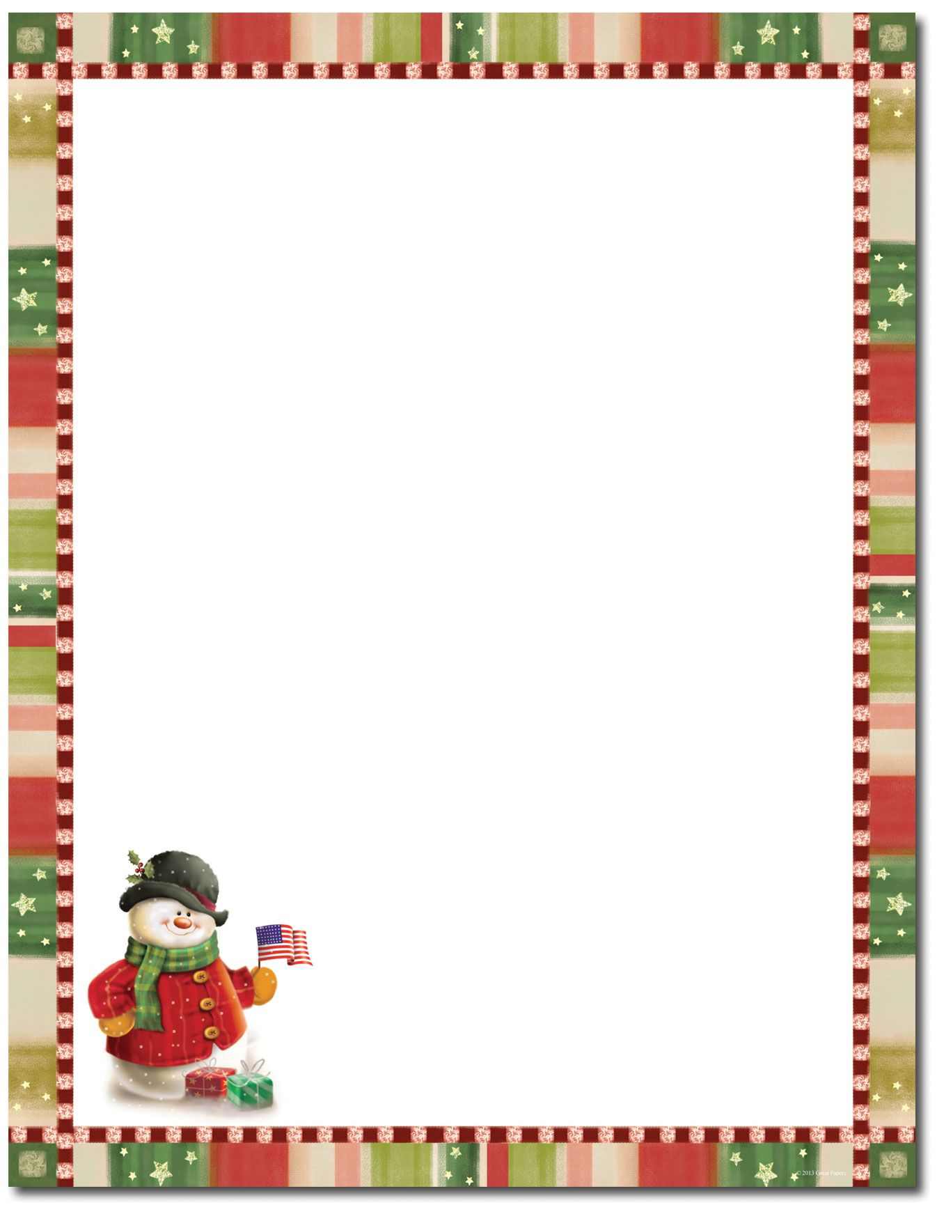 Patriotic Snowman Letterhead | Christmas Stationery | Christmas - Free Printable Christmas Stationary
