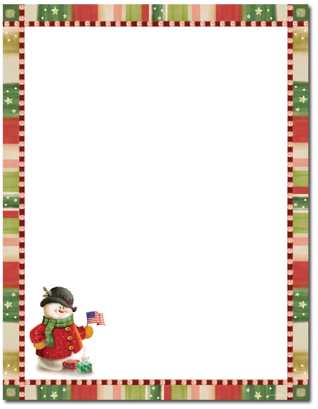 Patriotic Snowman Letterhead | Christmas Stationery | Christmas - Free Printable Snowman Stationery