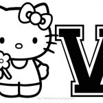 Personalized Coloring Page Initial Letter Hello Kitty   Free Printable Hello Kitty Alphabet Letters