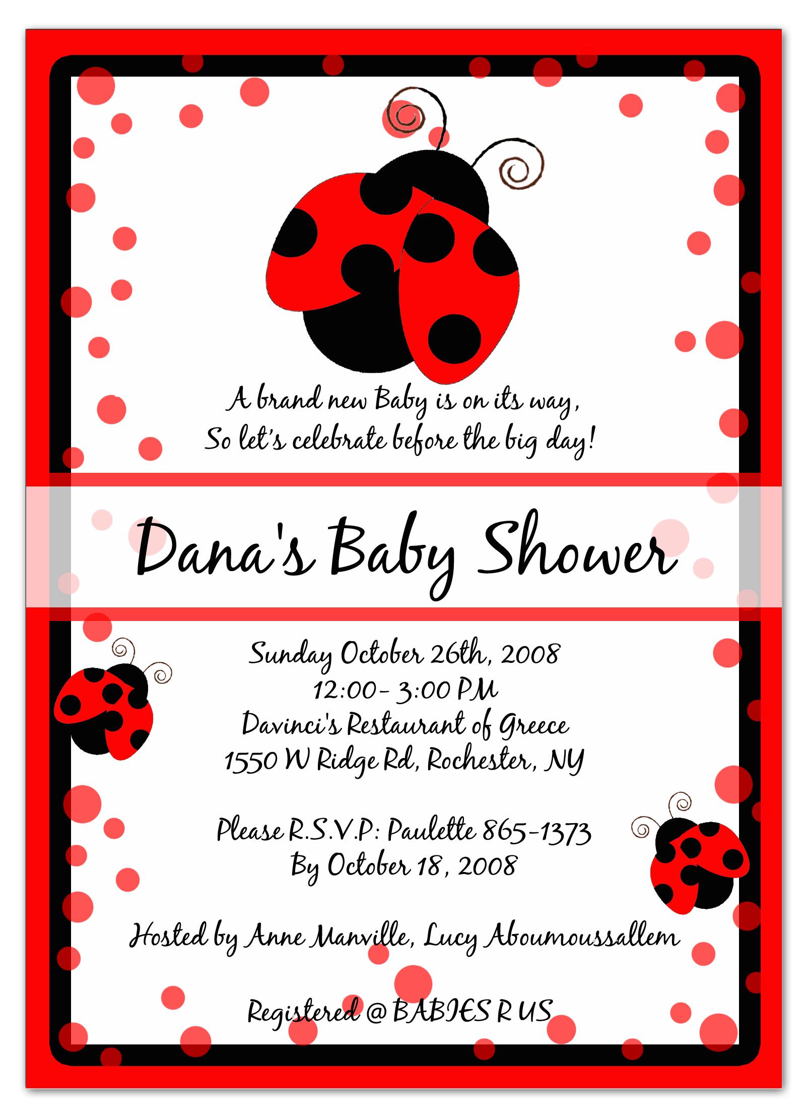 Photo : Cheap Sweet Pea Invitations Image - Free Printable Ladybug Baby Shower Invitations Templates