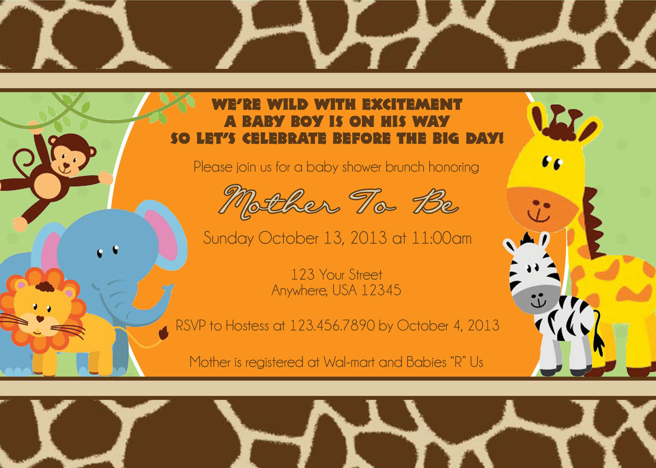 Photo : Jungle Baby Shower Invitations Image - Free Printable Jungle Safari Baby Shower Invitations