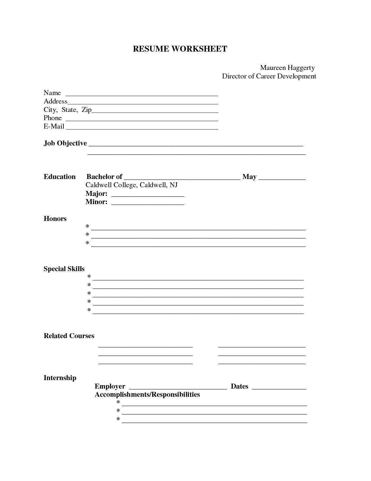 Pin Oleh Jobresume Di Resume Career Termplate Free | Resume Form - Free Printable Fill In The Blank Resume Templates