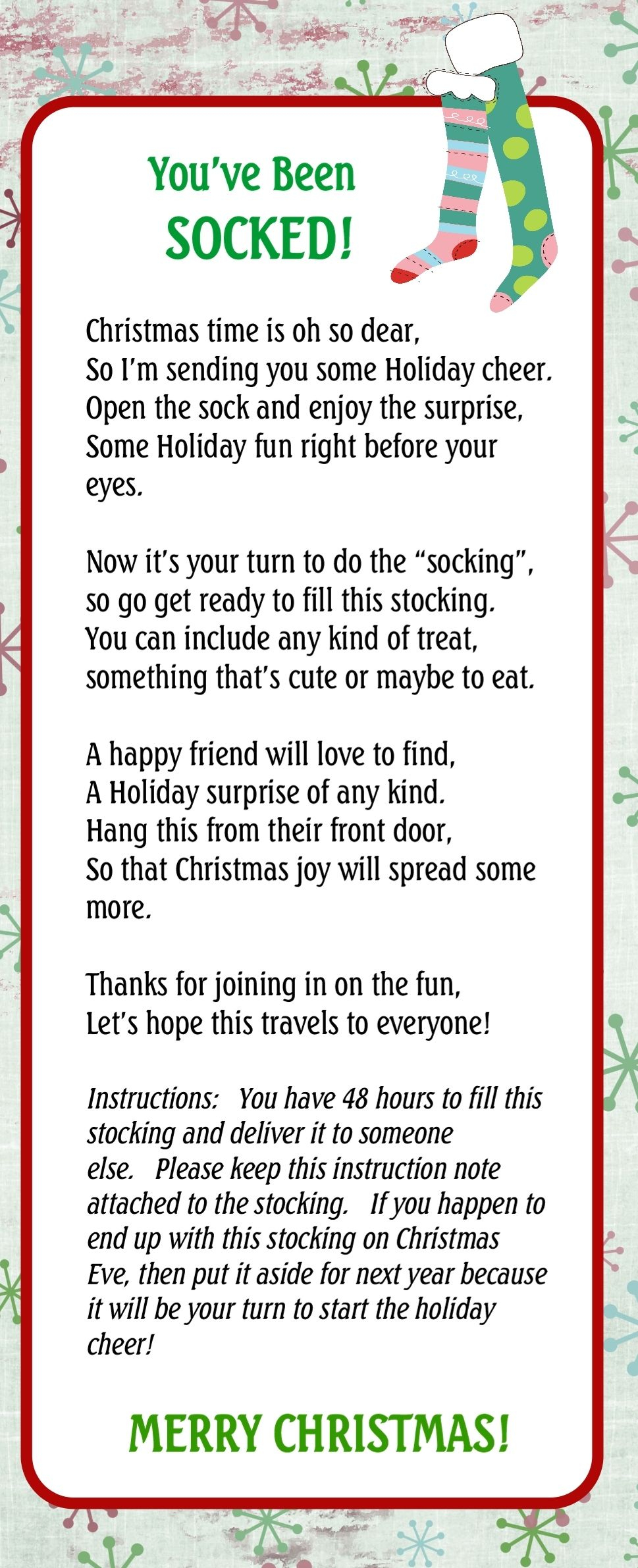 Pin On Christmas - You Ve Been Socked Free Printable