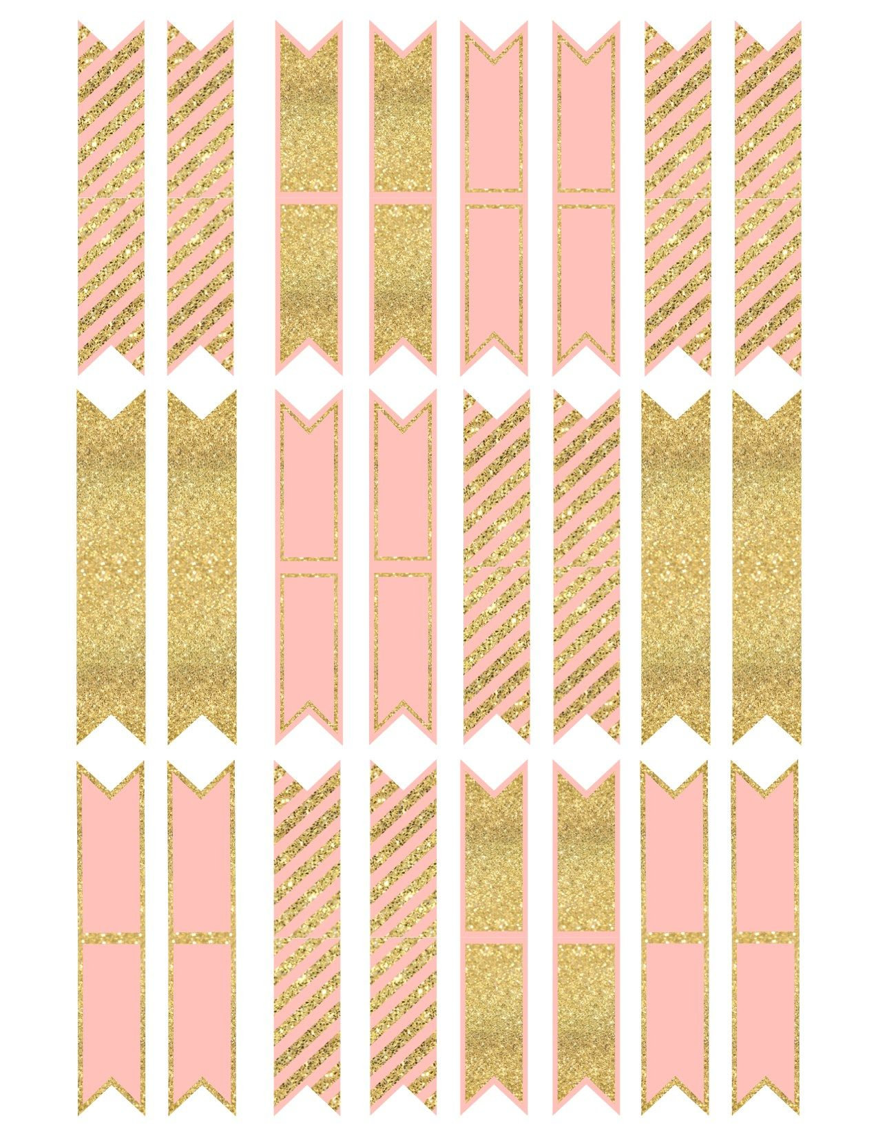 Pink And Gold Cupcake Topper Flags Or Bunting | Diy | Pinterest - Baby Shower Bunting Free Printable