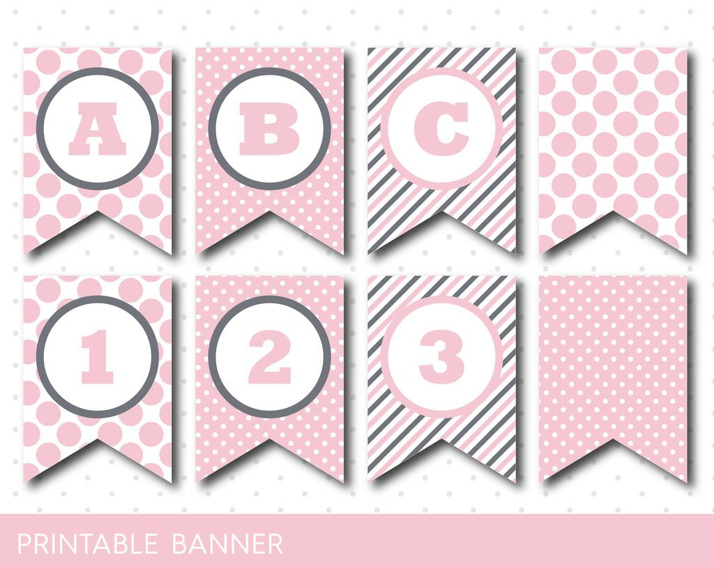 Pink Banner, Party Banner, Birthday Banner, Baby Shower Banner - Free Printable Baby Shower Banner Letters
