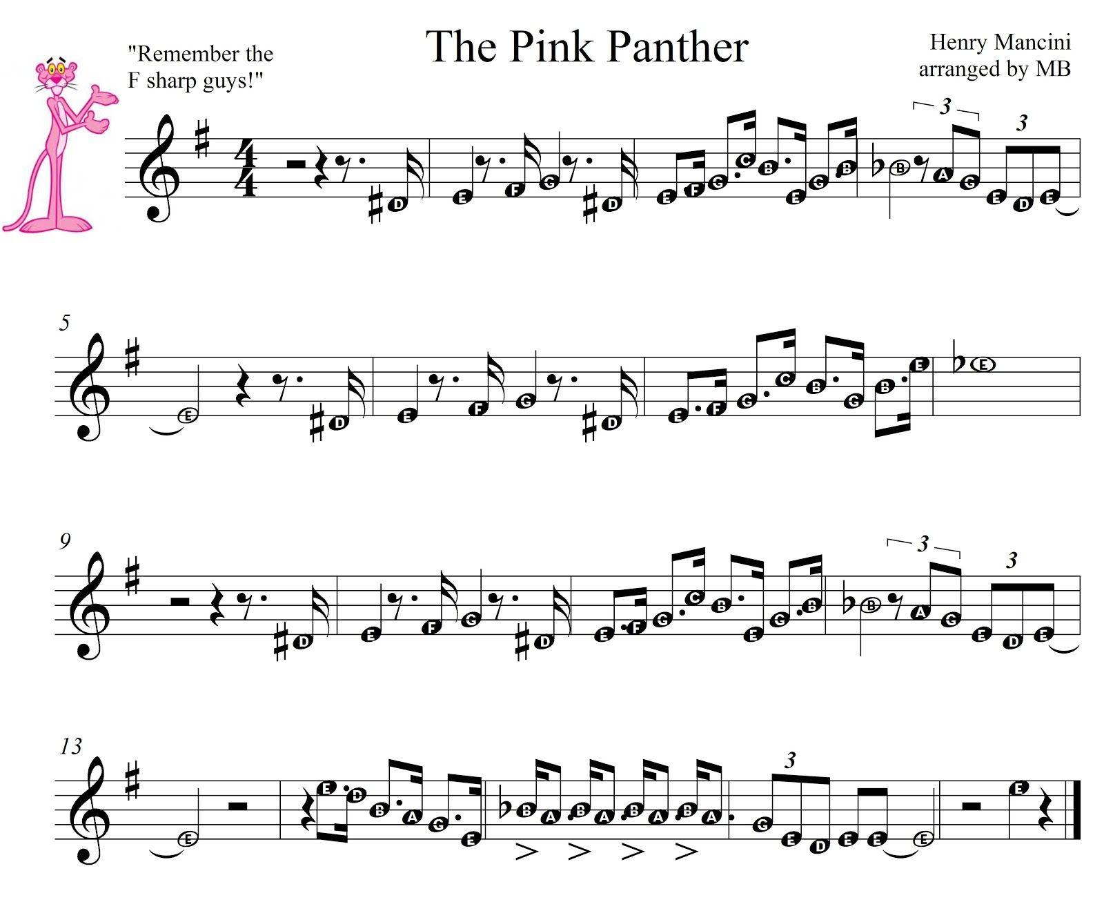 Pink Panther Sheet Music For Mobile The Pink Panther Theme1275 - Free Printable Alto Saxophone Sheet Music Pink Panther
