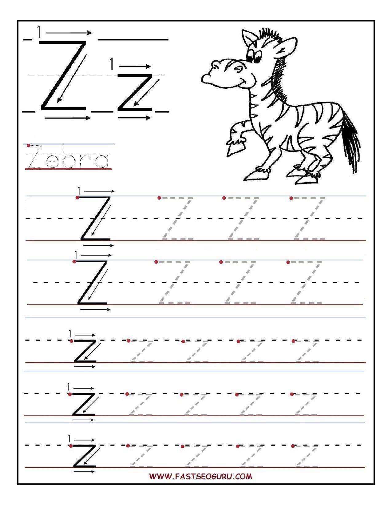Pinvilfran Gason On Decor   Letter Tracing Worksheets, Alphabet - Letter Z Worksheets Free Printable