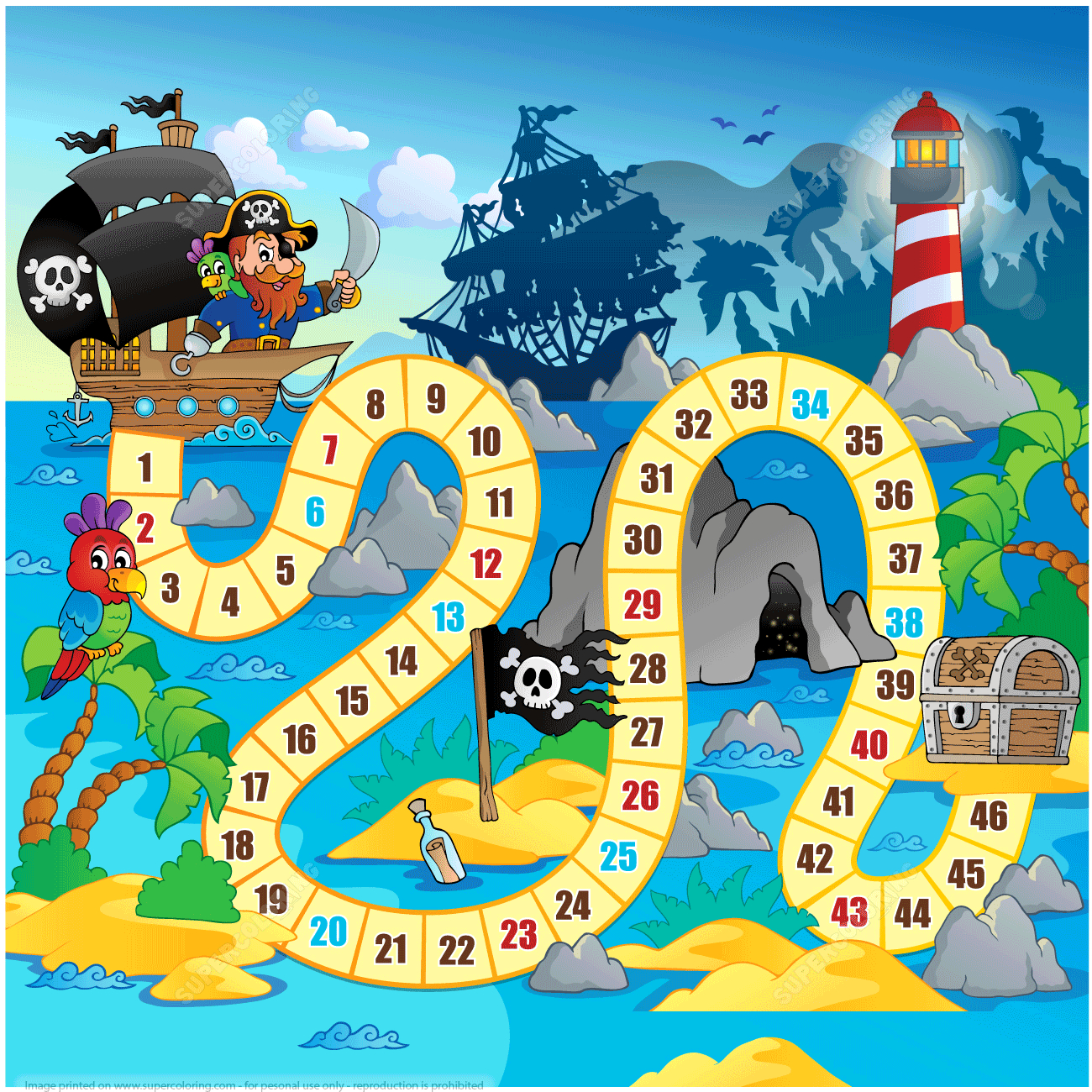 Pirate Board Game Printable Template | Free Printable Papercraft - Free Printable Board Games