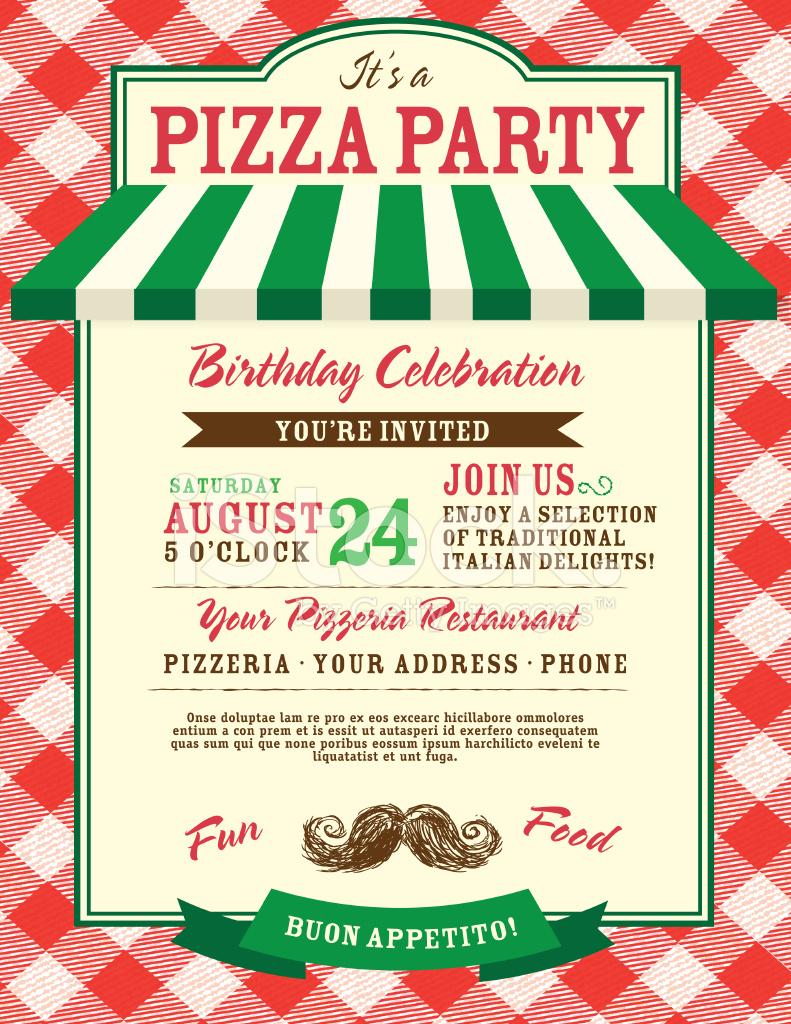 Pizza And Birthday Party Invitation Design Template Stock Vector - Free Printable Italian Dinner Invitations