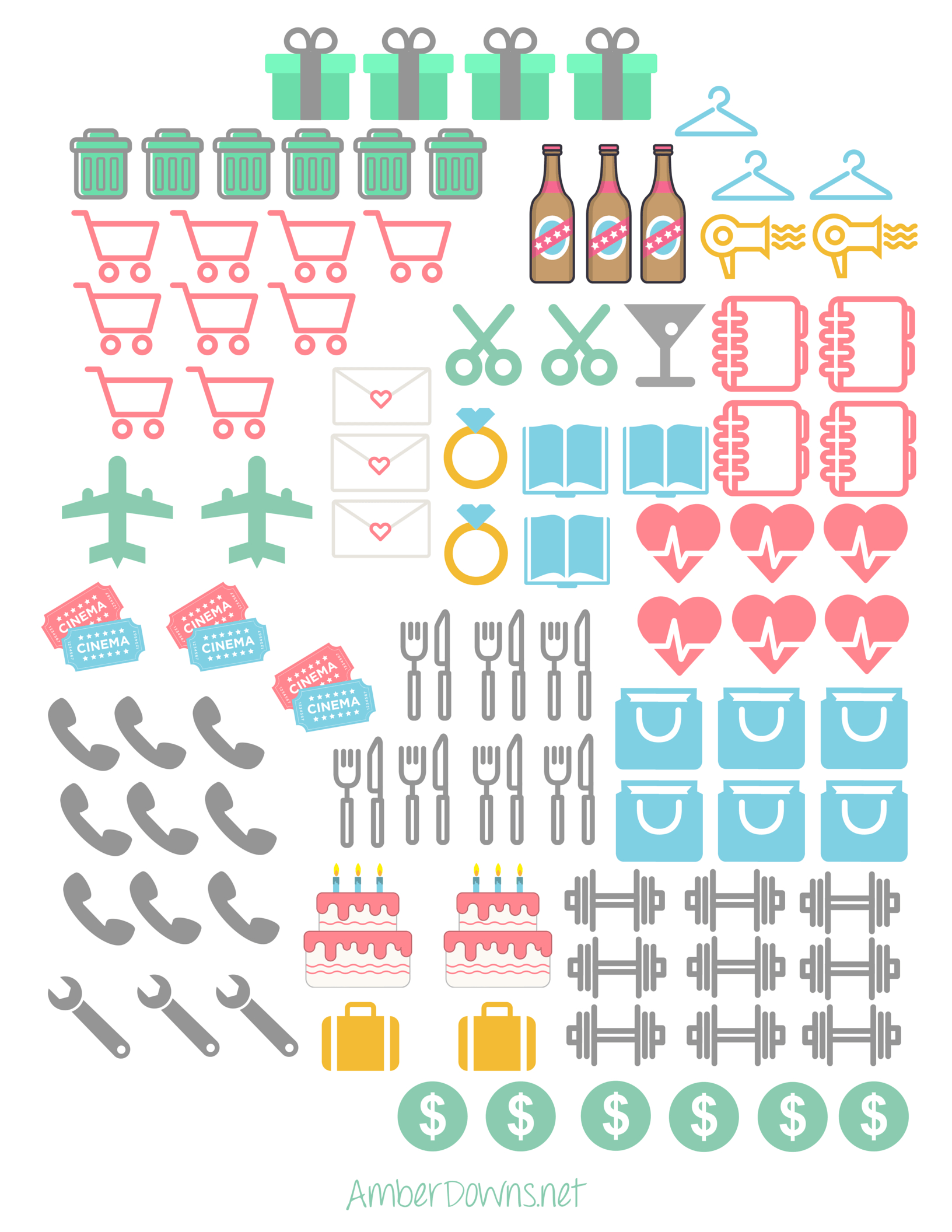 Planner Icon Stickers- Free Printable   Prefect Printables   Planner - Free Printable Stickers