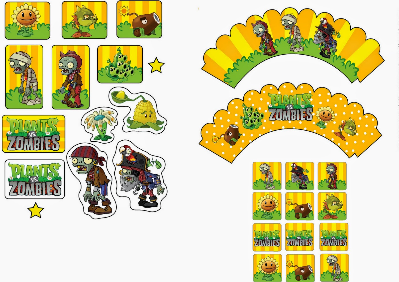 Plants Vs Zombies: Free Printable Cupcake Toppers And Wrappers.   Oh - Plants Vs Zombies Free Printable Invitations
