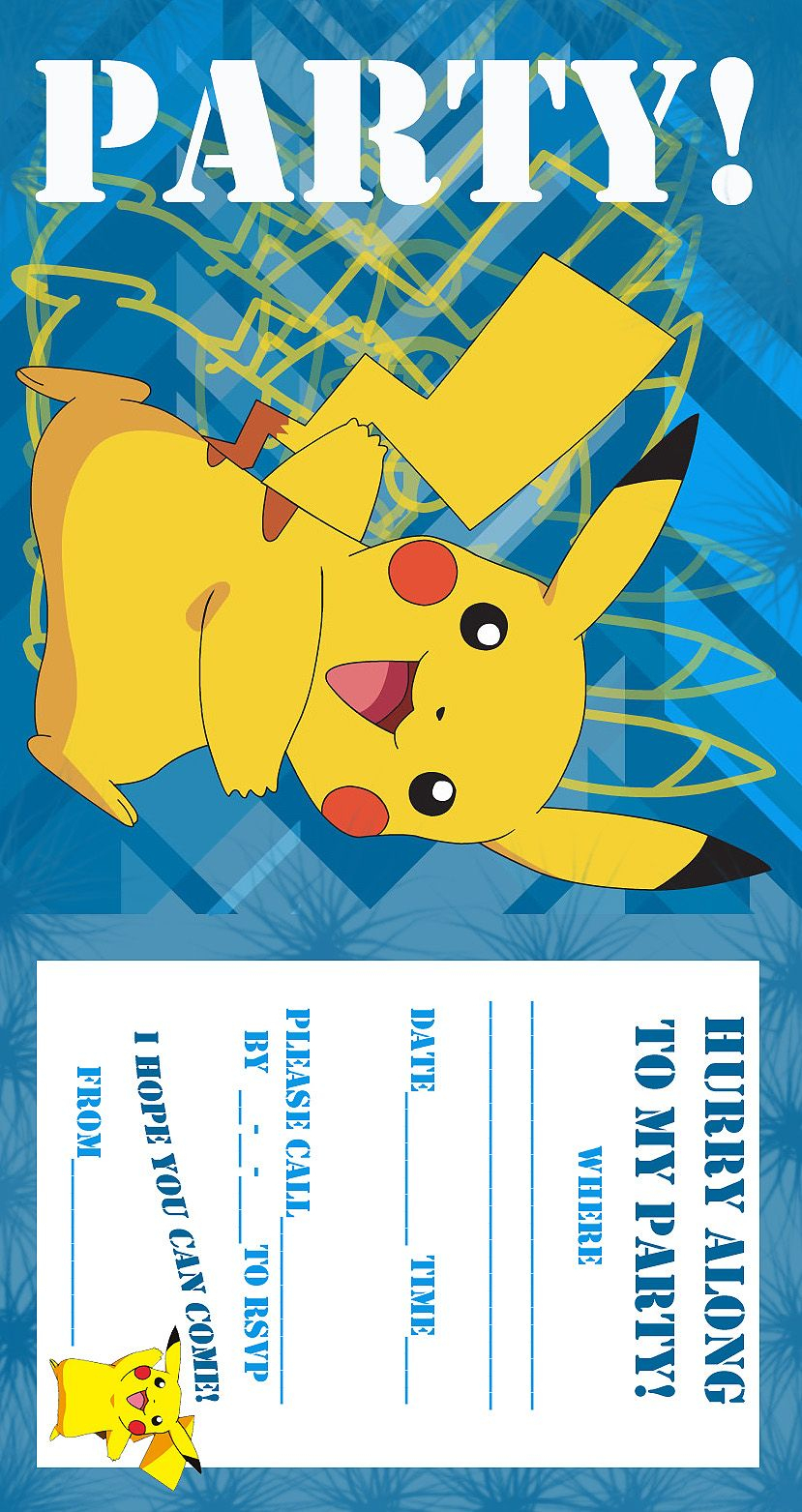 Pokemon Coloring Pages: Birthday Party Invitation Free And Printable - Pokemon Invitations Printable Free
