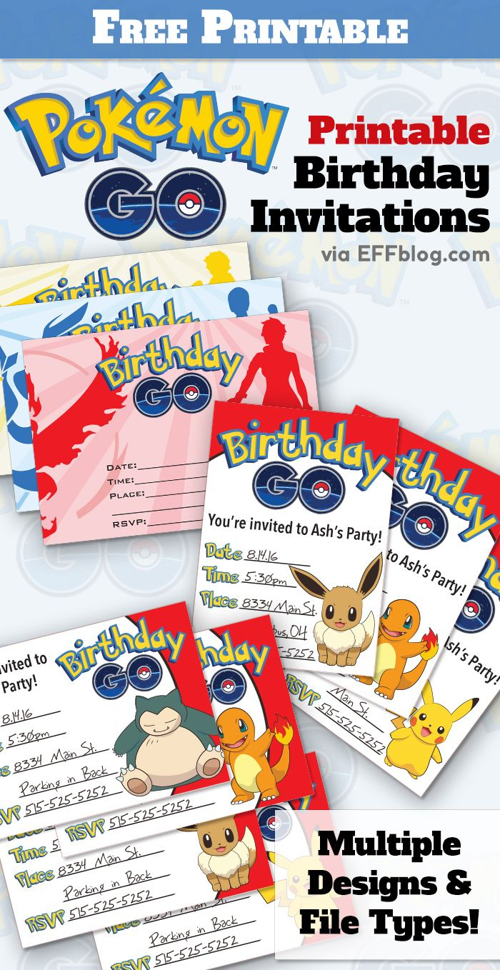 Pokémon Go: Birthday Go Free Printable Invitations | Pokemon Go - Pokemon Invitations Printable Free