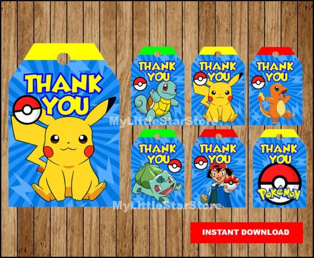 Pokemon Thank You Tags Printable Pokemon Tags Pokemon Party | Etsy - Free Printable Pokemon Thank You Tags