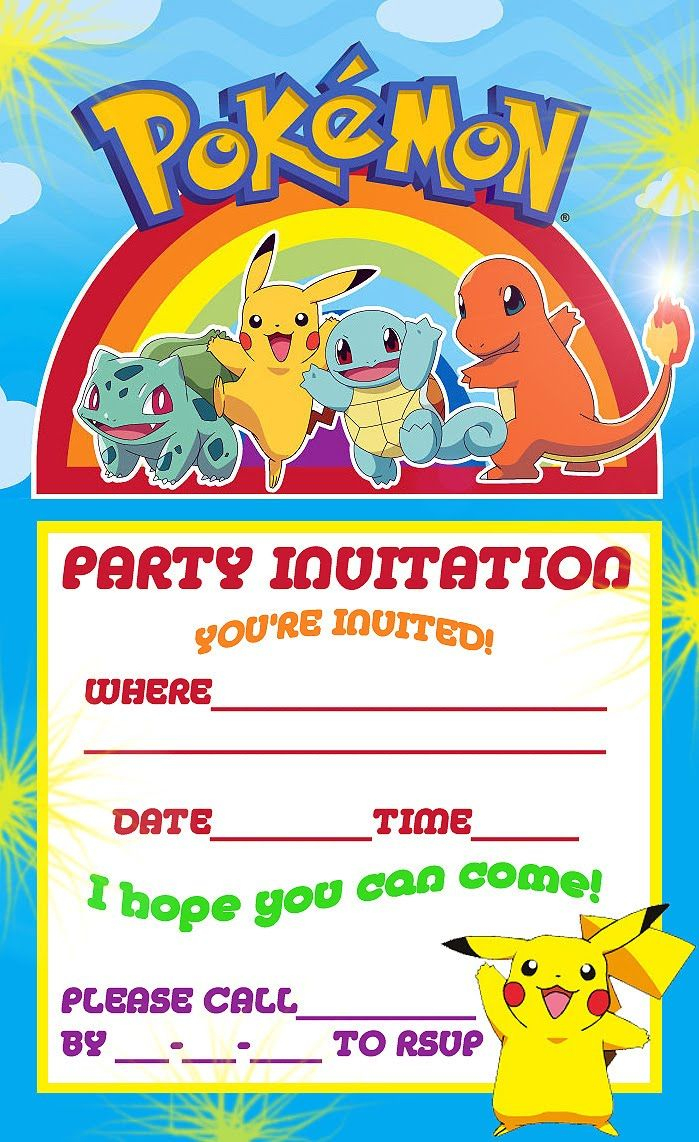 Pokemon Theme For A Kid's Birthday Party | Birthday Aayu | Pinterest - Pokemon Invitations Printable Free