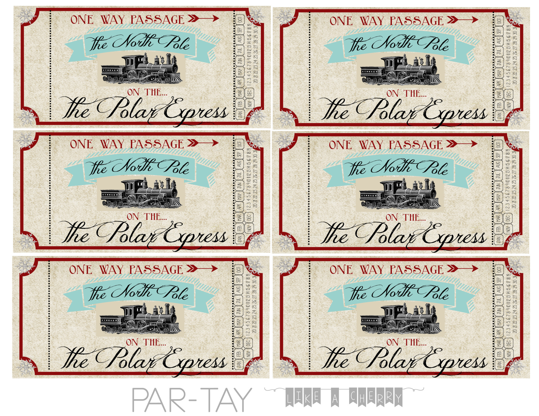 Polar Express Train Tickets Free Printable - Party Like A Cherry - Free Printable Train Pictures