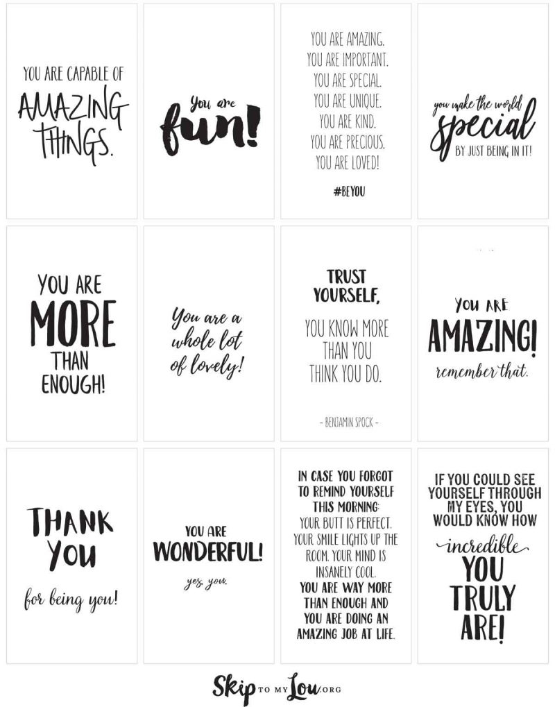 Positive Affirmations {Print And Share With Friends}   Skip To My Lou - Free Printable Positive Affirmation Cards