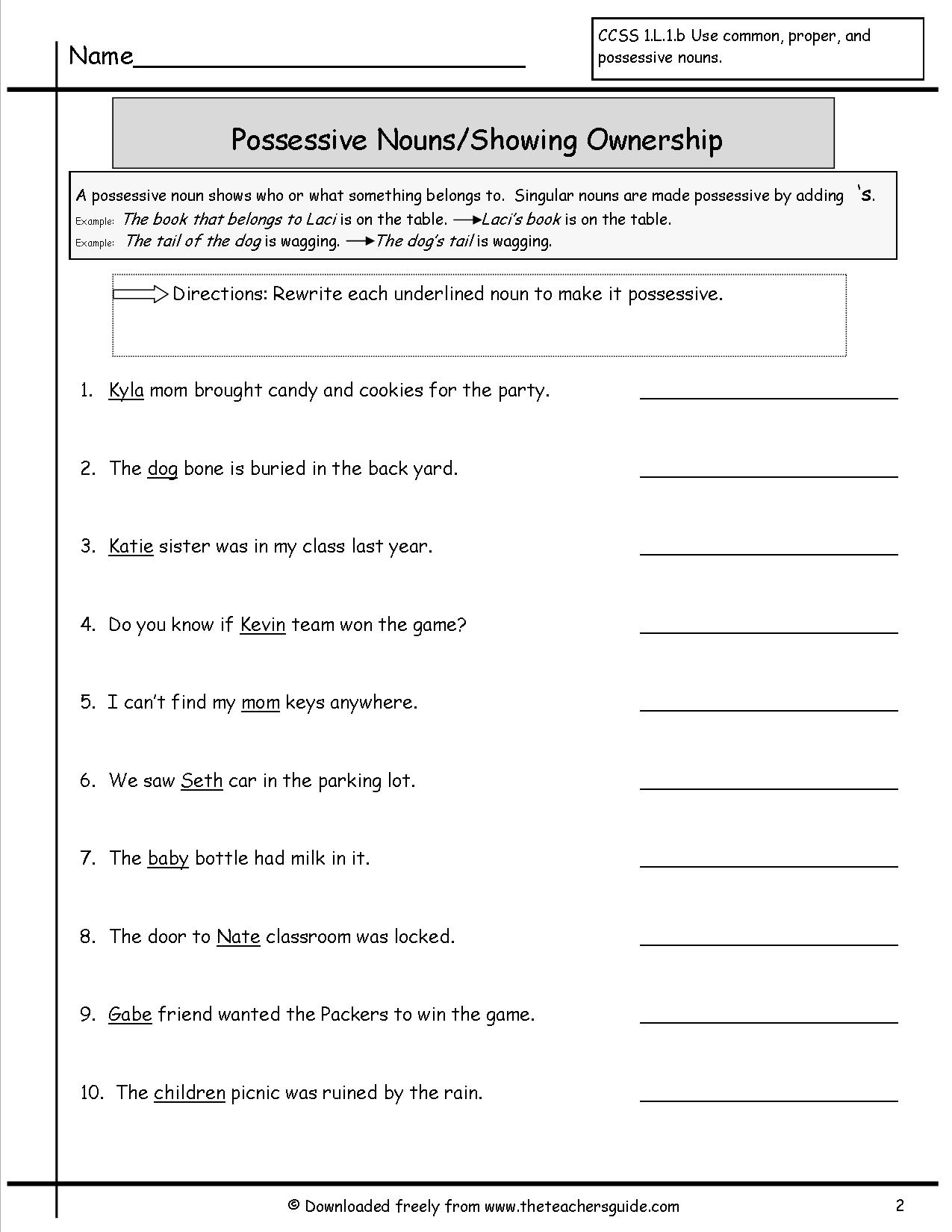 Possessive Nouns Worksheets From The Teacher's Guide - Free Printable Possessive Nouns Worksheets