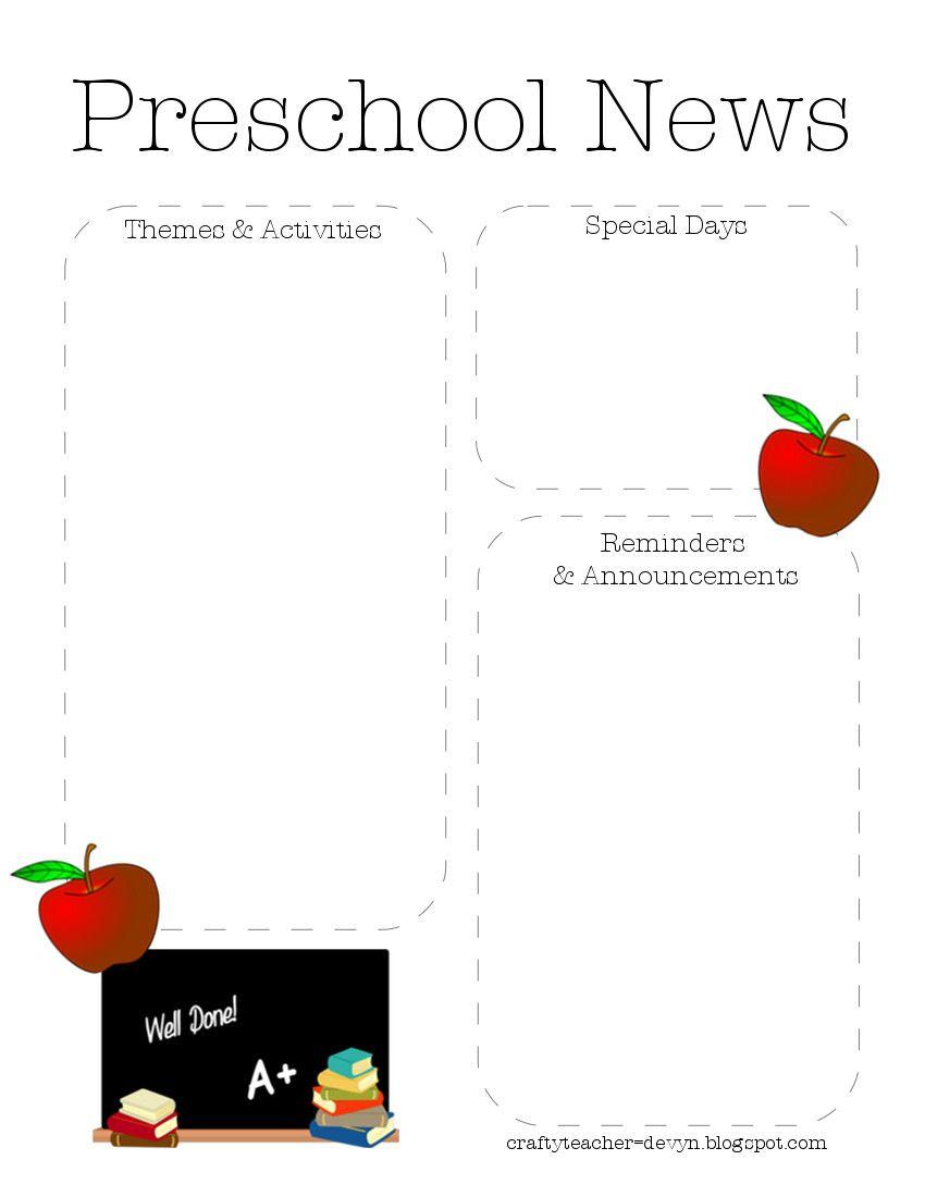 Preschool Newsletter Template 2   Teaching Ideas   Preschool - Free Printable Preschool Newsletter Templates