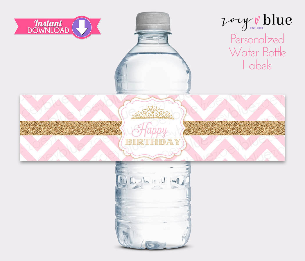 Princess Water Bottle Labels Pink Gold Birthday Water Labels   Etsy - Free Printable Water Bottle Labels For Birthday