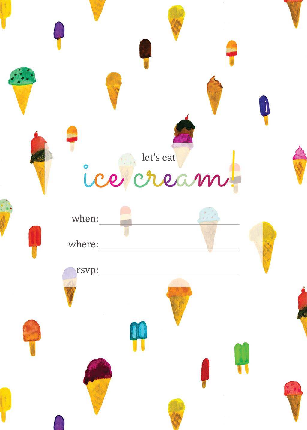 Print | Printable Ice Cream Party Invitation - Squirrelly Minds - Ice Cream Party Invitations Printable Free
