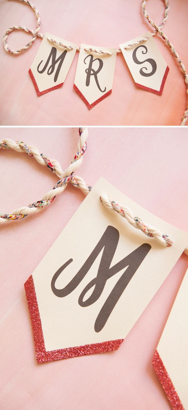 Print This Banner For Free And Then Add Glitter To It!   Diy Wedding - Free Printable Wedding Banner Letters