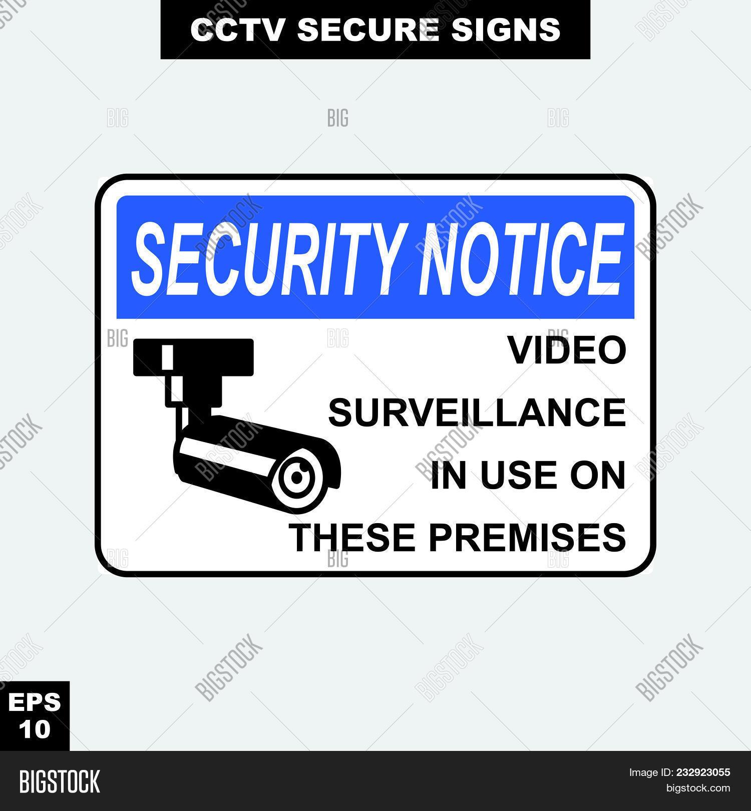 Print Vector & Photo (Free Trial) | Bigstock - Printable Video Surveillance Signs Free