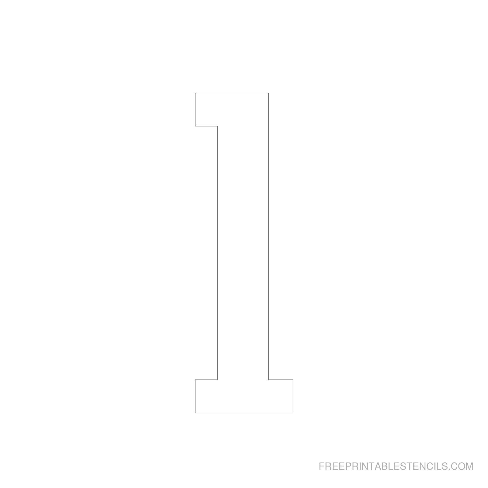 Printable 5 Inch Number Stencils 1-10 | Free Printable Stencils - One Inch Stencils Printable Free