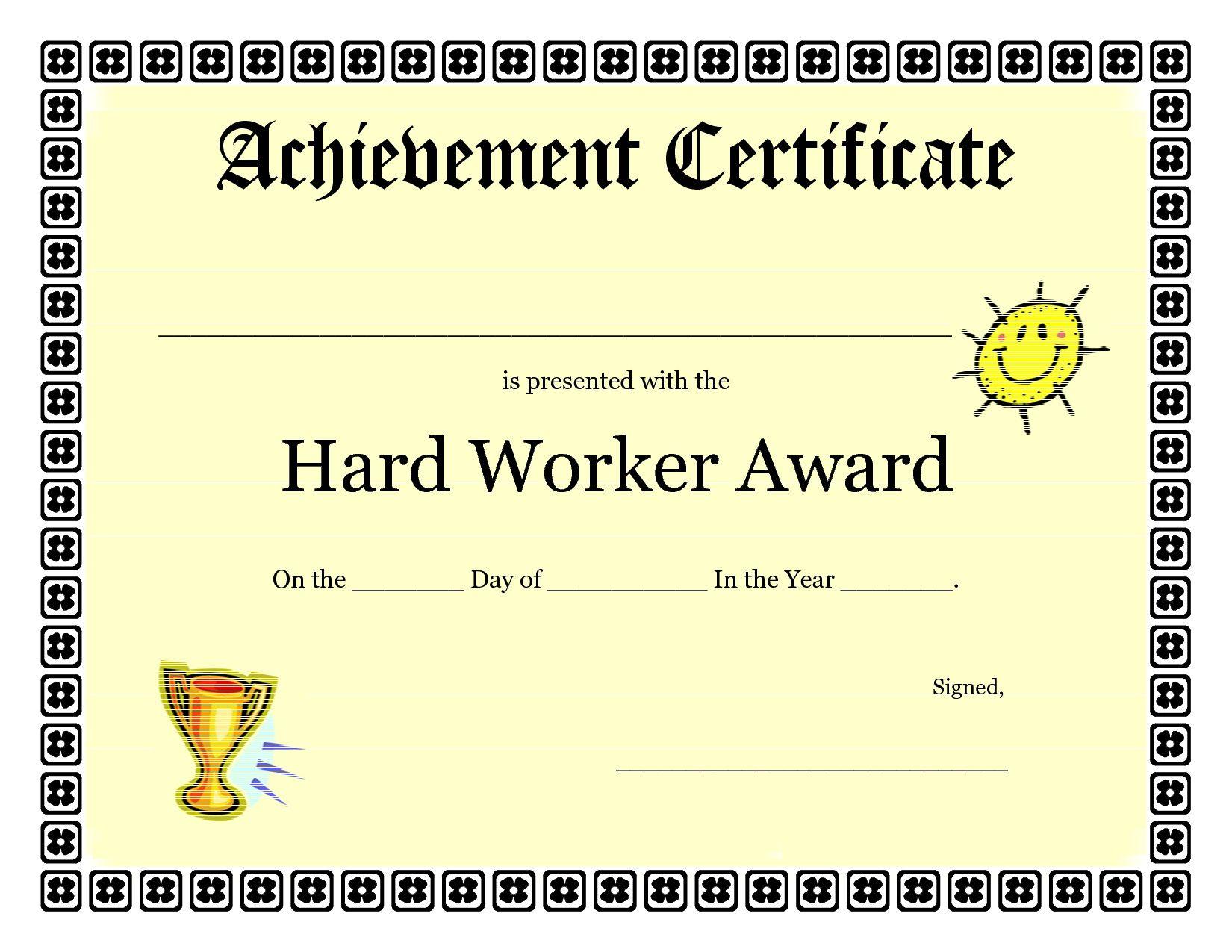 Printable Achievement Certificates Kids | Hard Worker Achievement - Free Printable Student Award Certificate Template