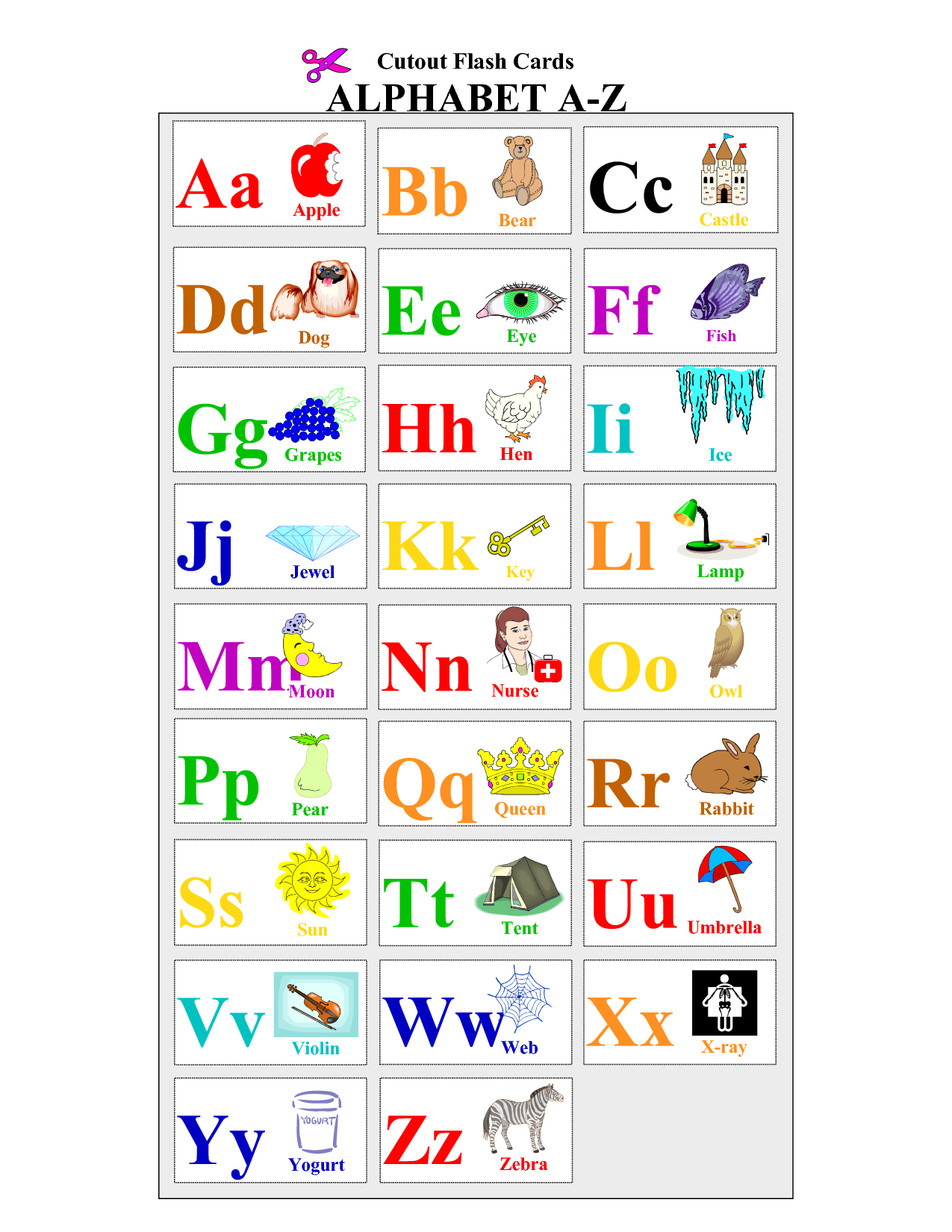 Printable Alphabet | Printable Alphabet Cards Educational Flash - Free Printable Alphabet Cards With Pictures