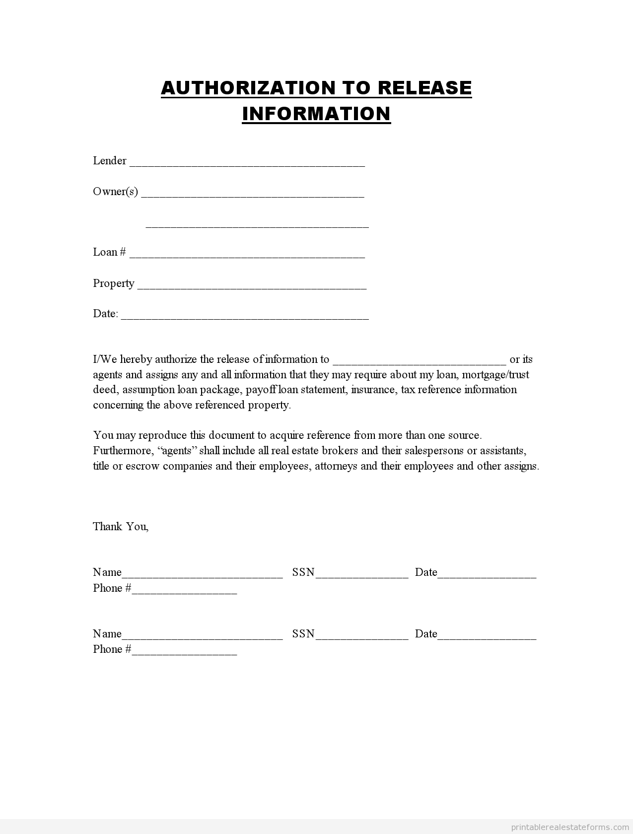 Printable Authorization To Release Information Template 2015 - Free Printable Photo Release Form