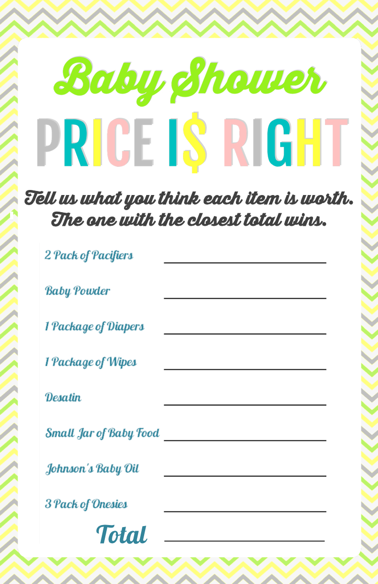 Printable Baby Shower Games - Price Is Right And Bingo | Baby Shower - Free Printable Baby Shower Games