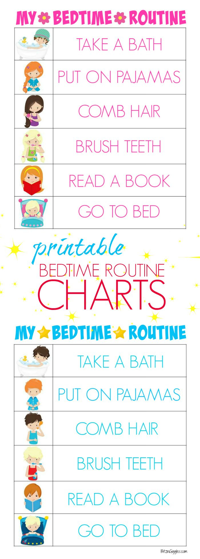 Printable Bedtime Routine Charts - Free Printable Kids Bedtime - Children's Routine Charts Free Printable