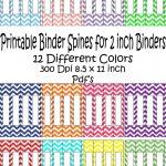 Printable Binder Spine Pack Size 2 Inch 12 Different Colors In   Printable Binder Spine Inserts Free