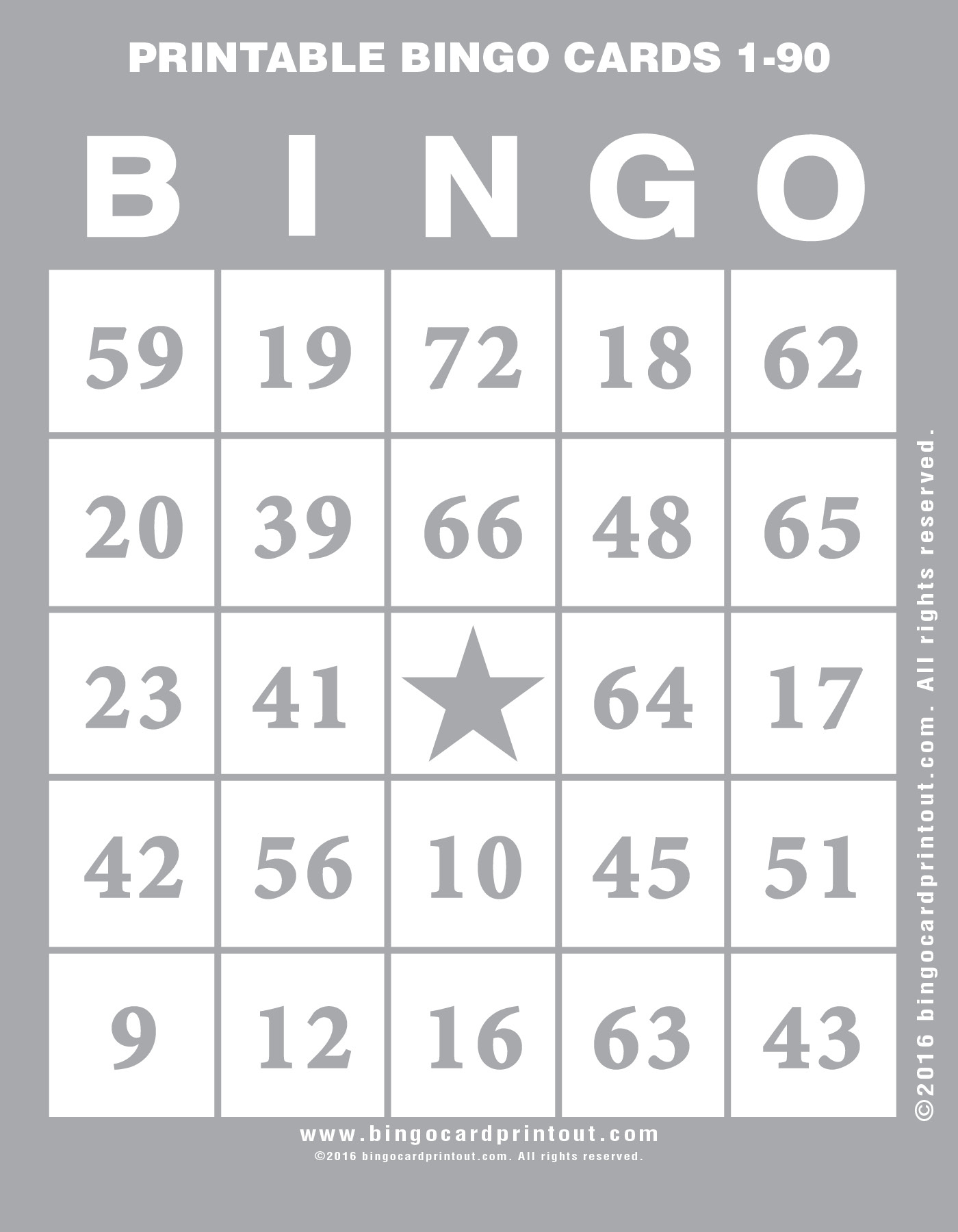 Printable Bingo Cards 1-90 - Bingocardprintout - Free Printable Number Bingo Cards 1 20