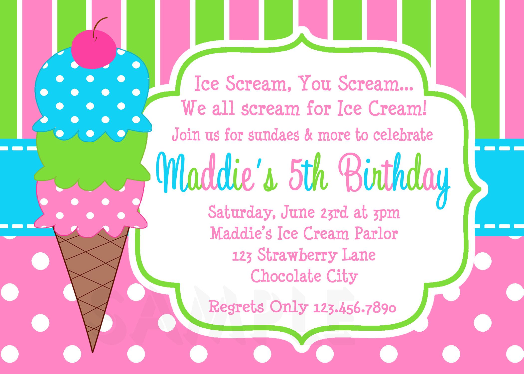 Printable Birthday Invitations, Girls Ice Cream Party, - Ice Cream Party Invitations Printable Free