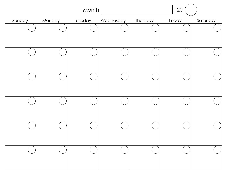 Printable Blank Monthly Calendar | Calendar Template Printable - Free Printable Monthly Planner