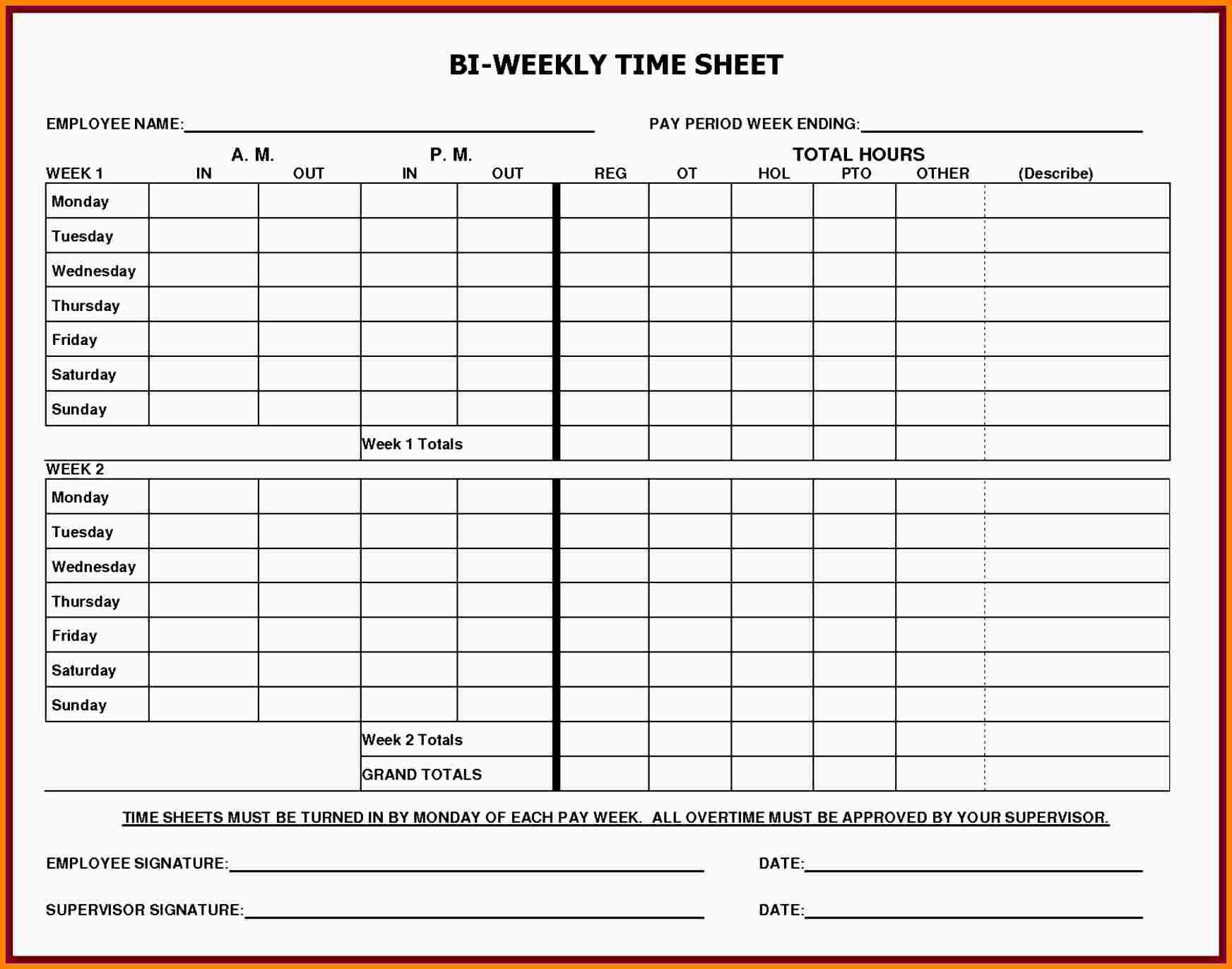 Printable Blank Weekly Timesheet Template - 18.9.hus-Noorderpad.de • - Monthly Timesheet Template Free Printable